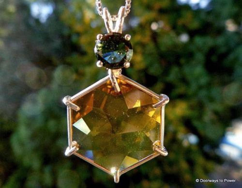 Citrine & Moldavite Flower of Life Pendant