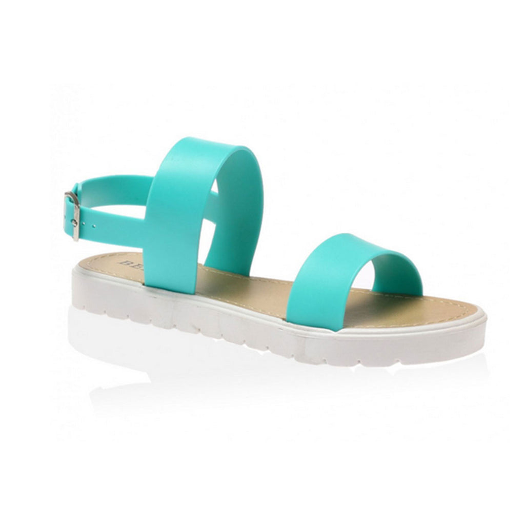 Women's jelly sandals size 10 - Perfect Me Ladies Jelly Summer Sandals Retro Flat Cleated Slingback Flip Flops Beach Size