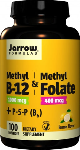 Jarrow Methyl B-12 & Methyl Folate, Lemon Flavor, 1,000 mcg / 400 mcg, 100 Lozenges