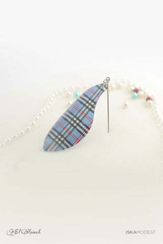 Dangling Hijab Pin - Blue Burberry