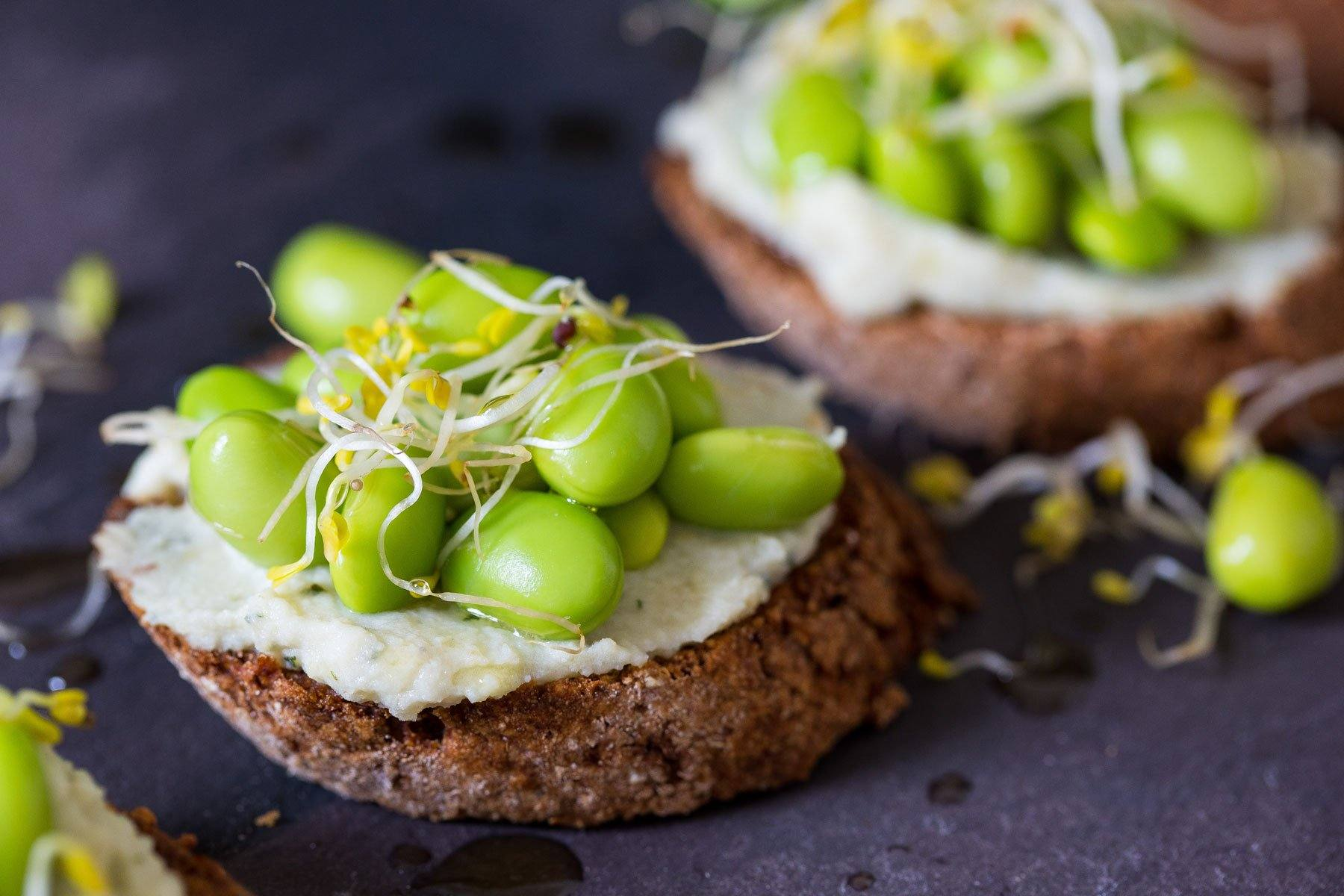 Crostini with Fava and Edamame Beans