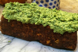 Fava Bean and Tomato Loaf with Salsa Verde Topping