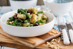 Green Pea Gnocchi with Broad Beans and Greens