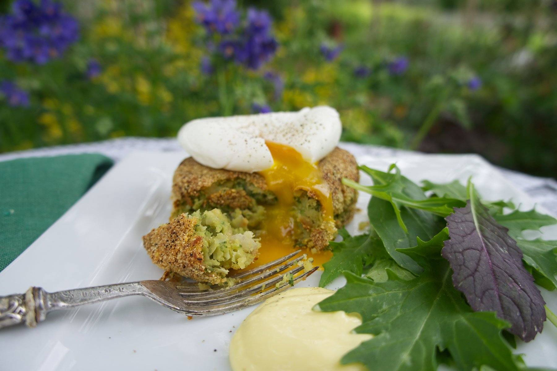 Marrowfat Pea and Spinach Cakes