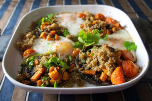 Quinoa with Garlic Mushrooms and Eggs