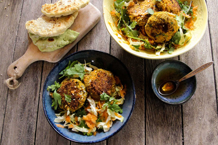 Spiced Carrot and Quinoa Falafels with Slaw