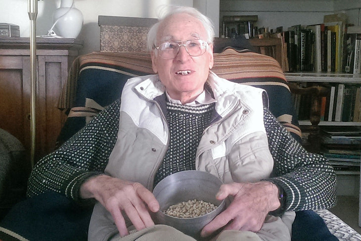 Professor Colin Leakey, at home with some of his treasured beans, November 2016