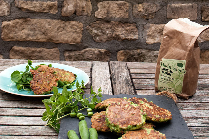 Courgette, Pea and Mint Fritters
