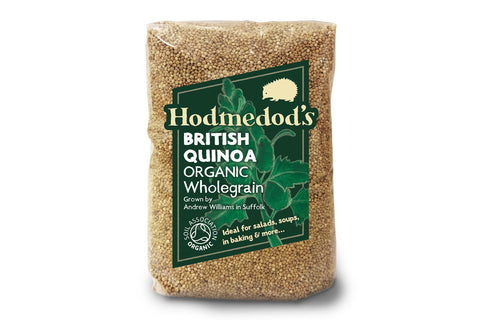 Hodmedod's Organic British Quinoa pack - designed by Andy Croft