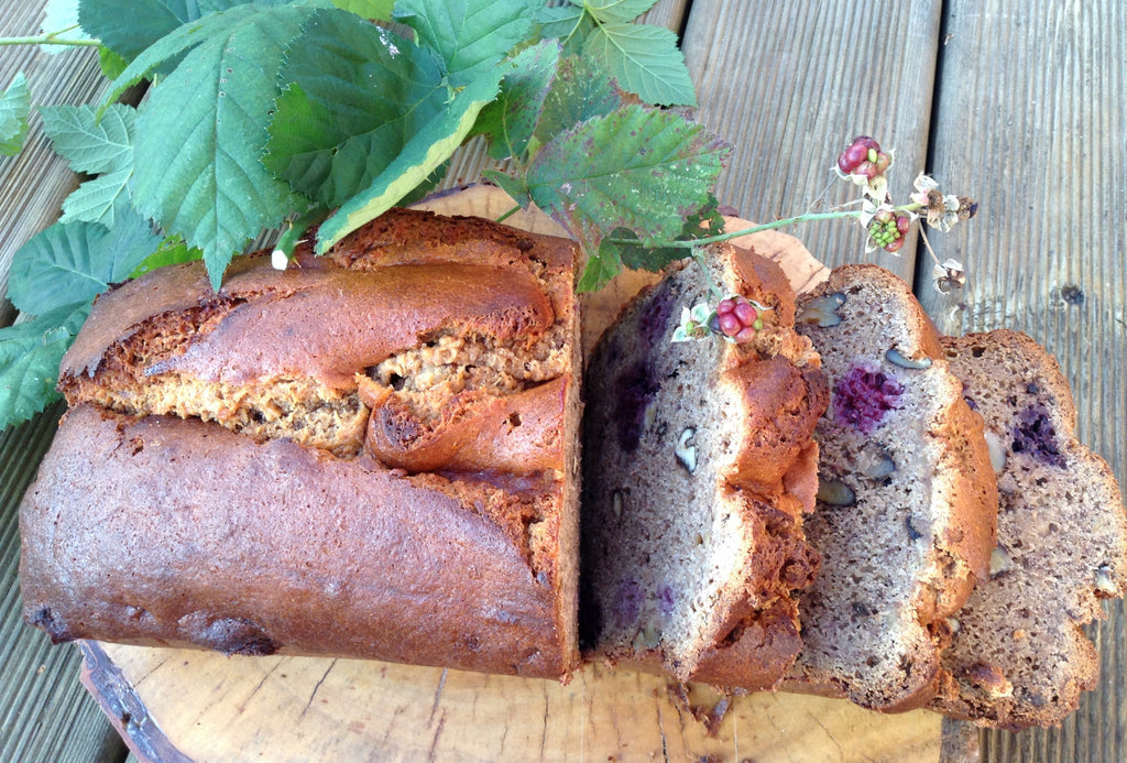 Jenni Sherington's gluten free-banana, walnut and blackberry pea flour loaf