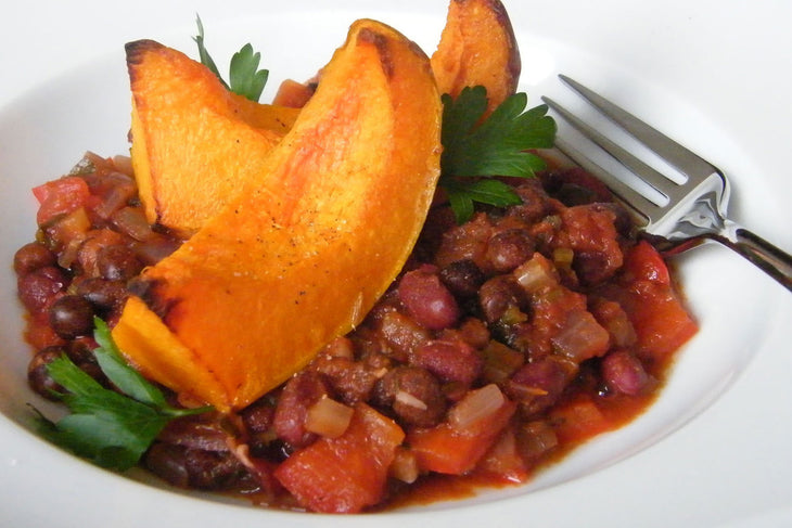 Roasted Squash with Spicy Beans