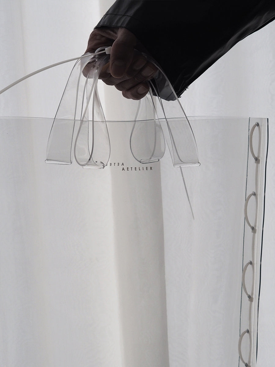 ZIP TIED TOTE - CLEAR