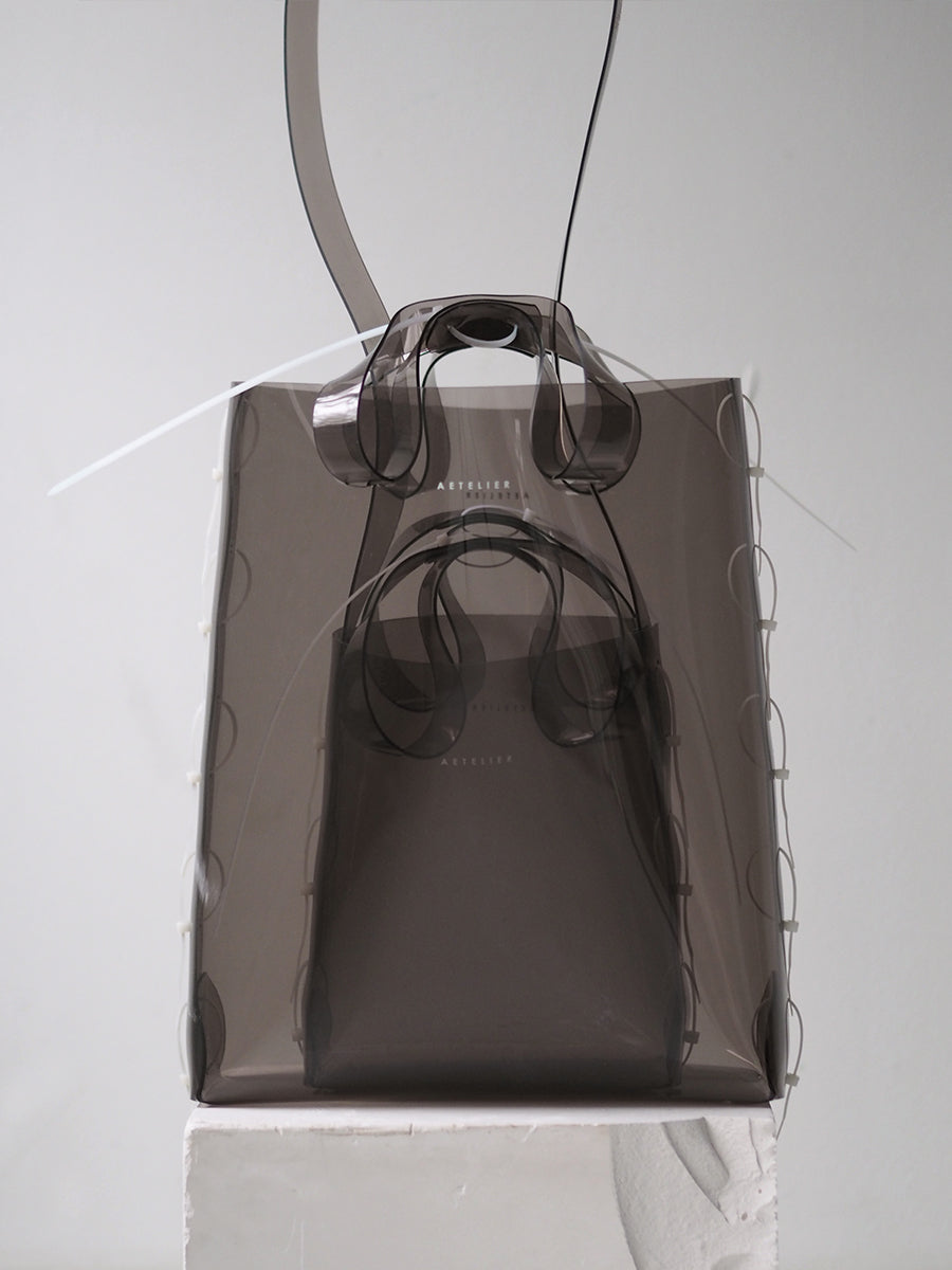 ZIP TIED TOTE - SMOKE, SMALL