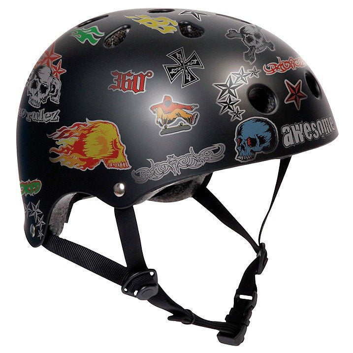 SFR Essentials Black Sticker Adjustable Skate Bike Helmet - Main View