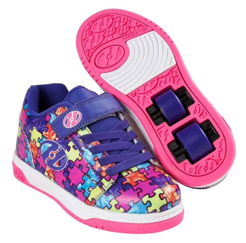 Heelys X2 Dual Up Purple Puzzle Two Wheel Heelys - Main View