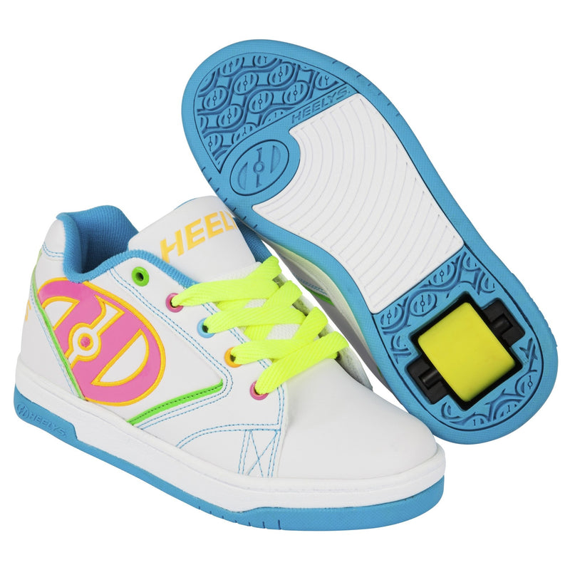 White Multi Colour Girls Heelys - Main View