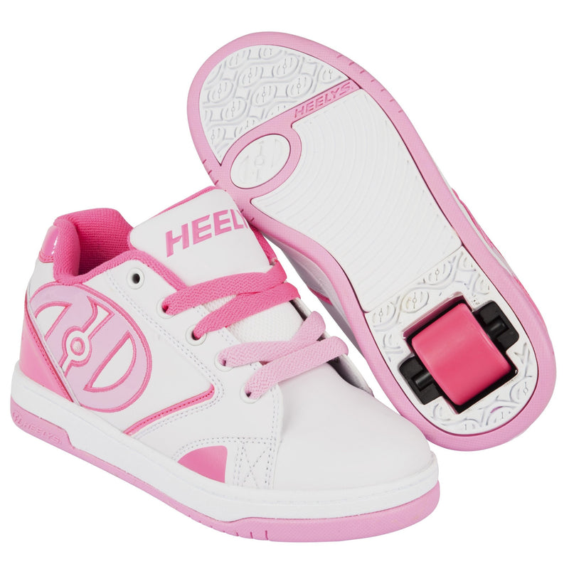 White Pink Girls One Wheel Heelys - Main View