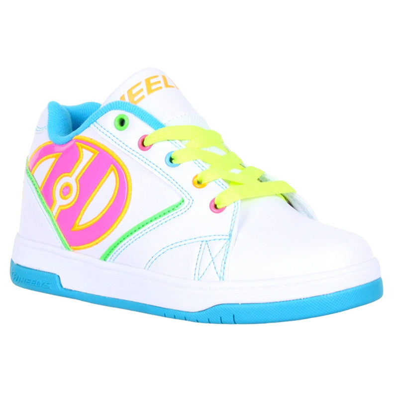 White Multi Colour Girls Heelys - Front View