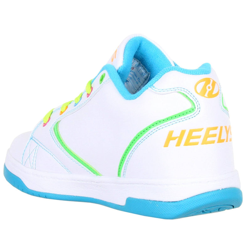 White Multi Colour Girls Heelys - Rear View