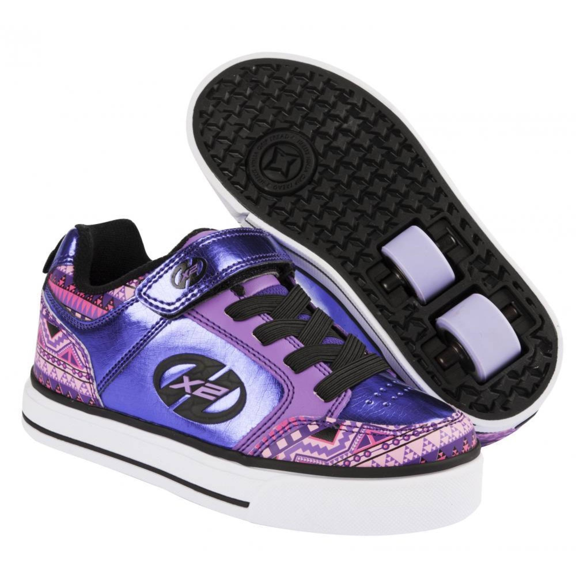 heelys x2 thunder purple multi print two wheel heelys ebay. Black Bedroom Furniture Sets. Home Design Ideas