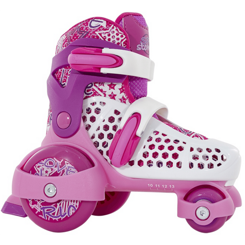 SFR Stomper White/Pink Kids Adjustable Roller Skates