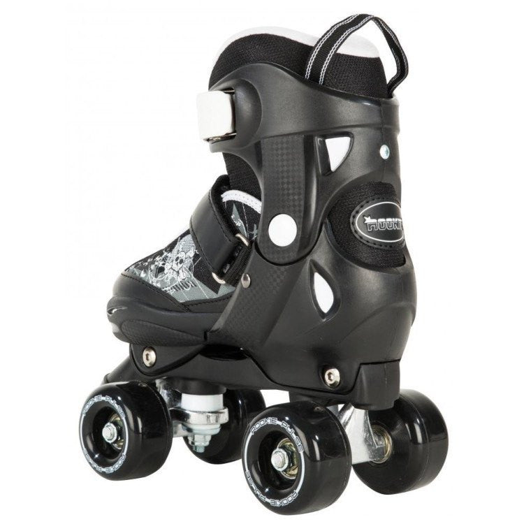 Rookie Pulse Kids Black/White Adjustable Roller Skates - rear view