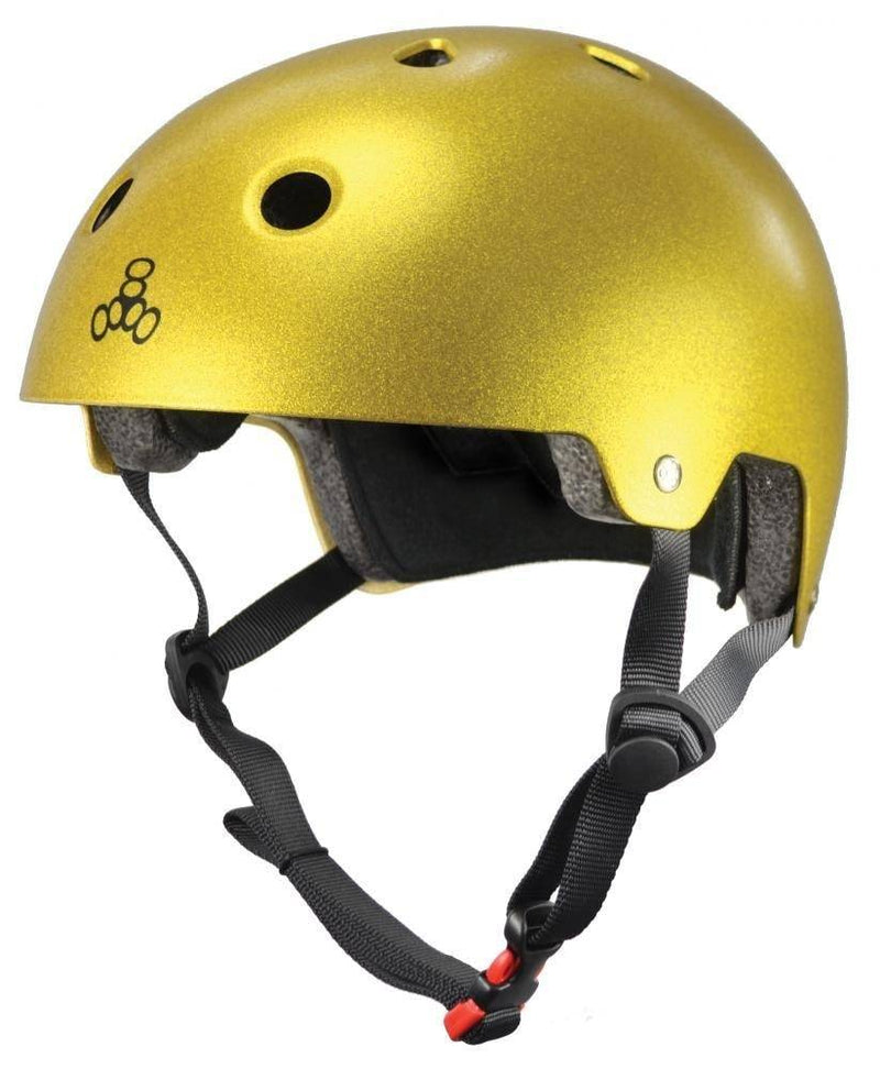 Metallic Gold Triple 8 Skate Helmet - Main View