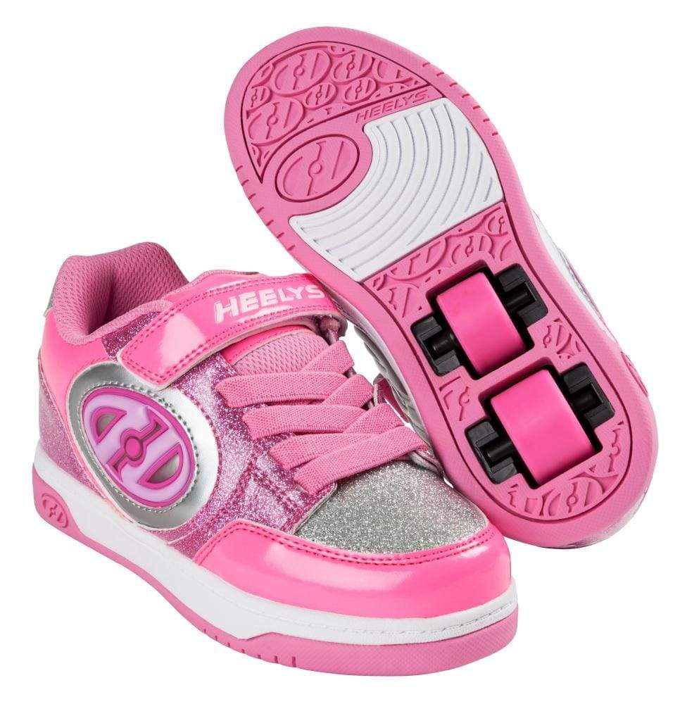 Heelys X2 Plus Lighted Silver Pink Two Wheel Heelys - Main View