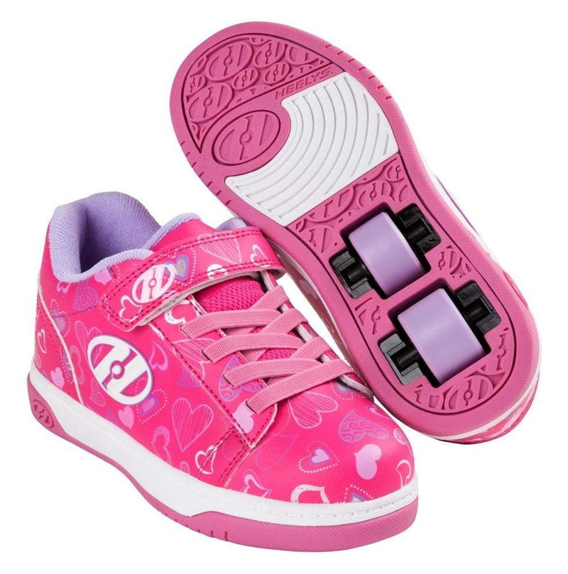 Heelys X2 Dual Up Pink Hearts Two Wheel Heelys - Main View