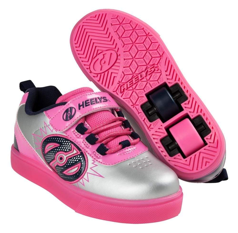 Heelys X2 Pow Lighted Silver Pink Navy Two Wheel Heelys - Main View