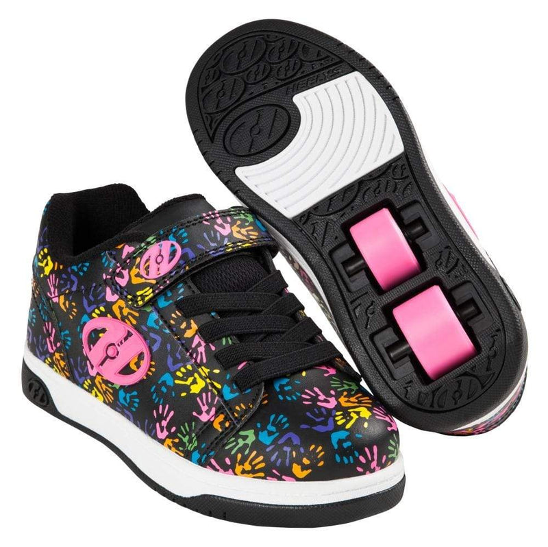 Heelys X2 Dual Up Black Hearts Two Wheel Heelys - Main View