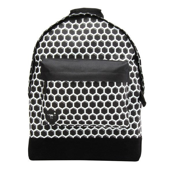 Black White Honeycomb Backpack - Main View