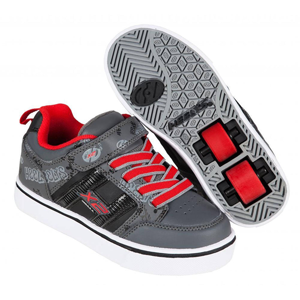 Grey Red Light Up Two Wheel Heelys - Main View