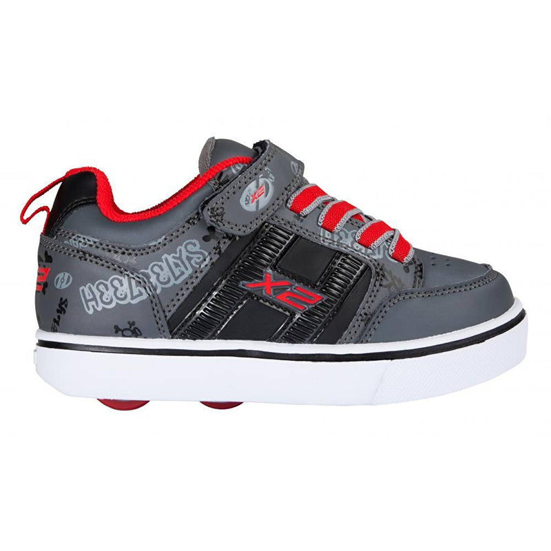 Grey Red Light Up Two Wheel Heelys - Side View