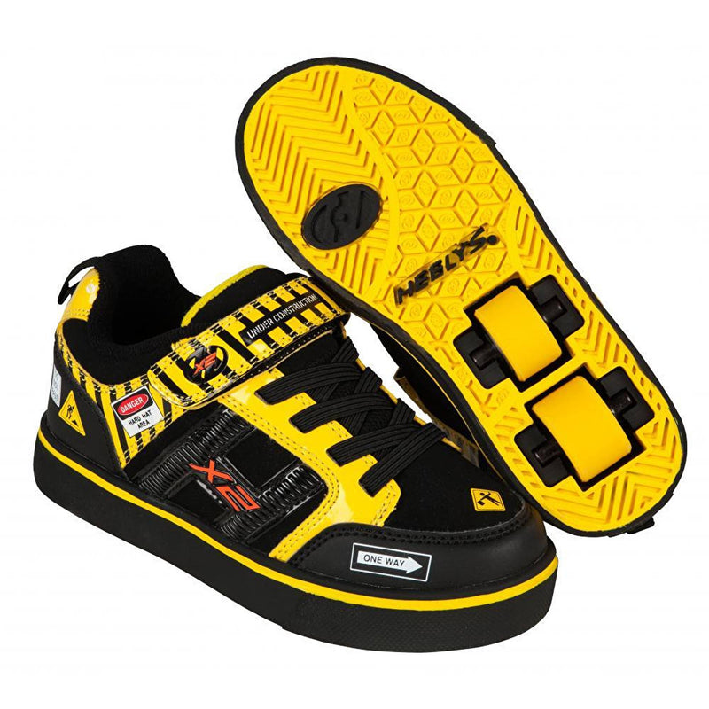 Black Yellow Light Up Two Wheel Heelys - Main View