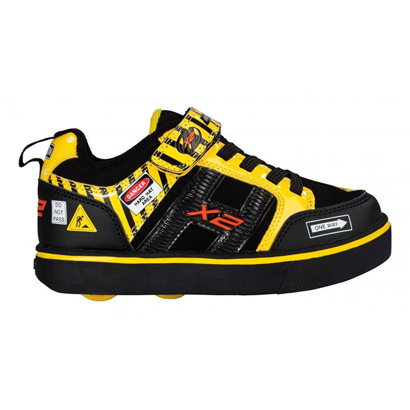 Black Yellow Light Up Two Wheel Heelys - Side View