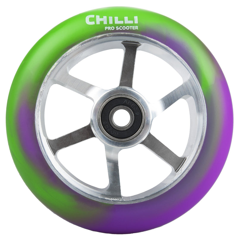 Chilli Pro 6 Spoke 110mm Scooter Wheel with Bearings - Purple/Green/Silver