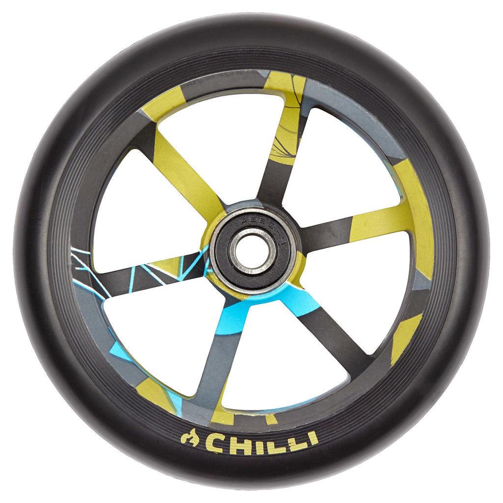 Chilli Pro 6 Spoke 120mm Scooter Wheel with Bearings - Black/Urban Jungle