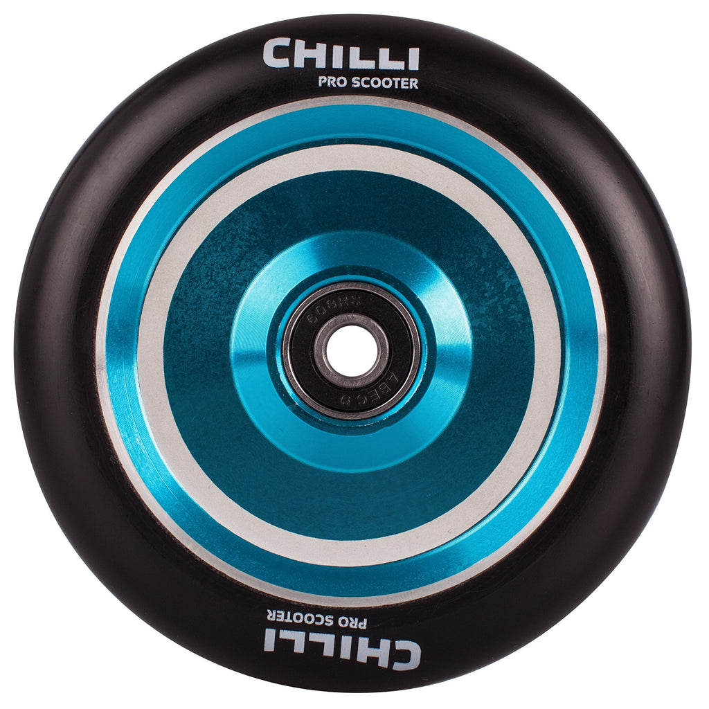 Chilli Pro Coast 110mm Hollow Core Scooter Wheel with Bearings - Black/Blue