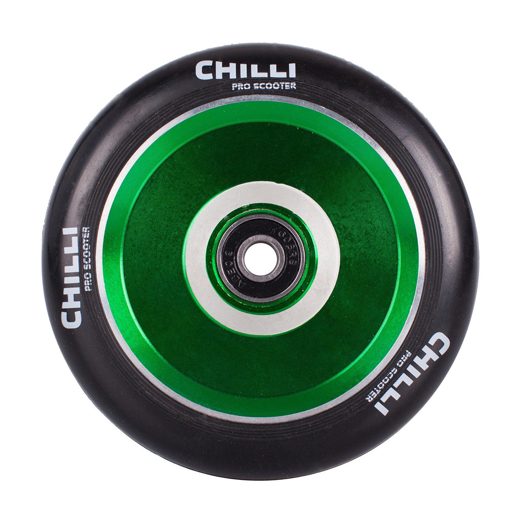 Chilli Pro Pops 110mm Scooter Wheel with Bearings - Black/Green