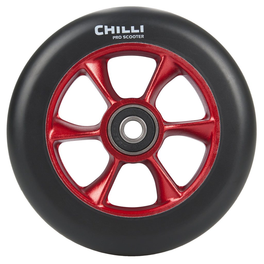 Chilli Pro Turbo 110mm Scooter Wheel with Bearings - Black/Red