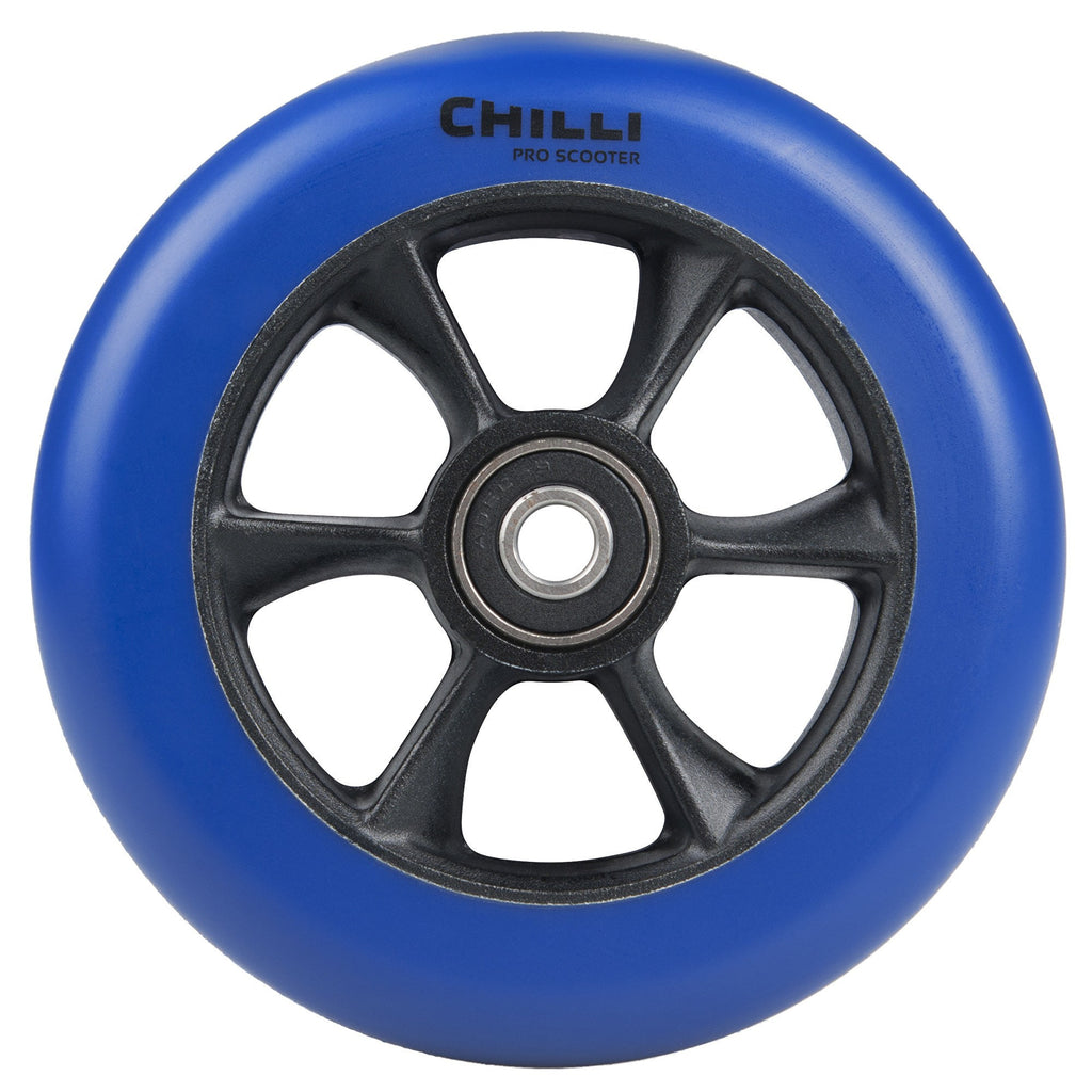 Chilli Pro Turbo 110mm Scooter Wheel with Bearings - Blue/Black