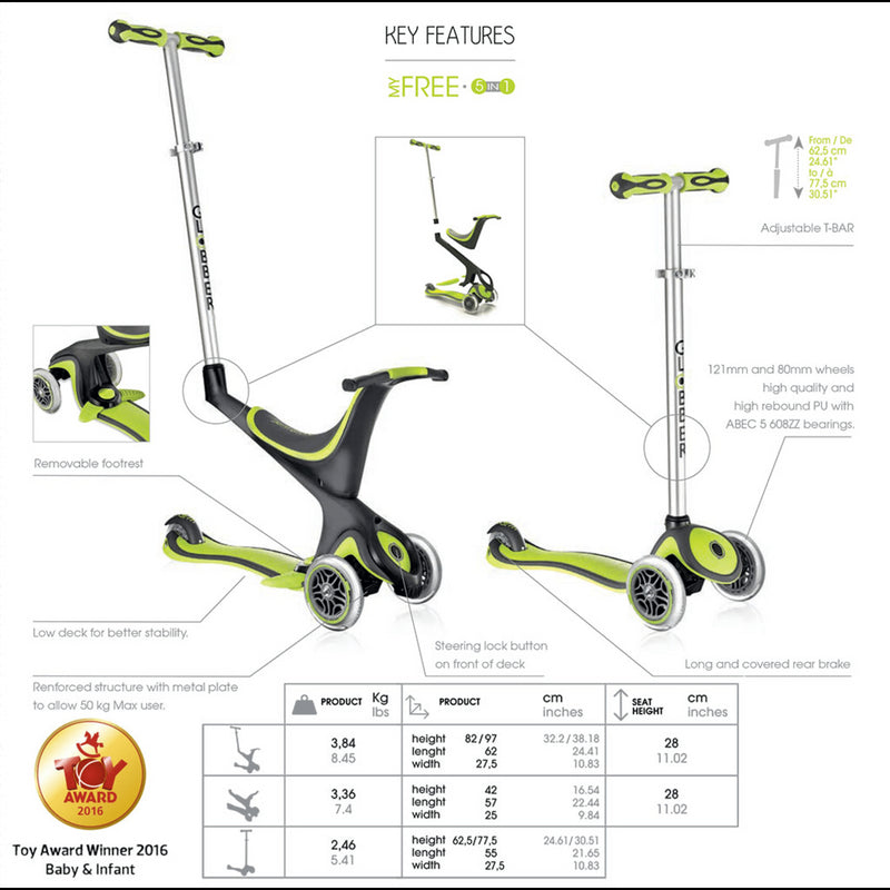 Globber 5-in-1 Kids Recreational Scooter - Green Specification View