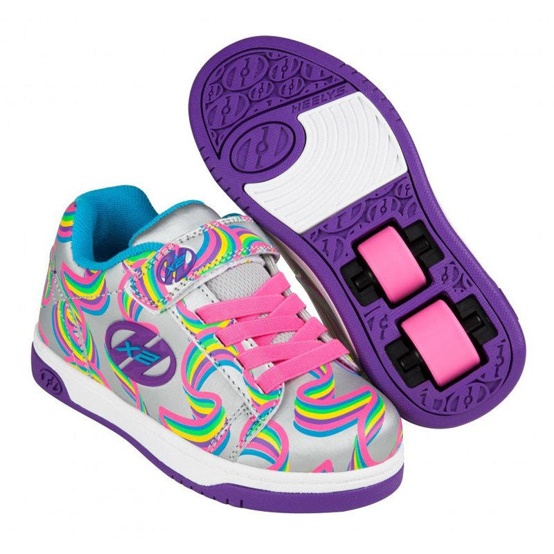 Silver Rainbow Girls Two Wheel Heelys - Main View