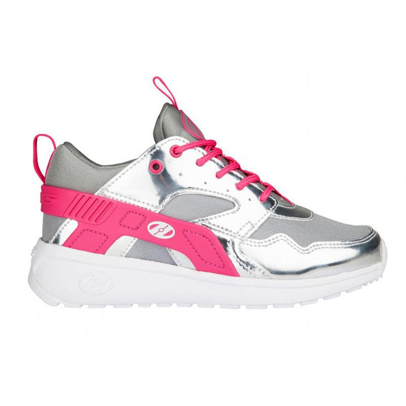Silver Pink Girls One Wheel Heelys - Side View