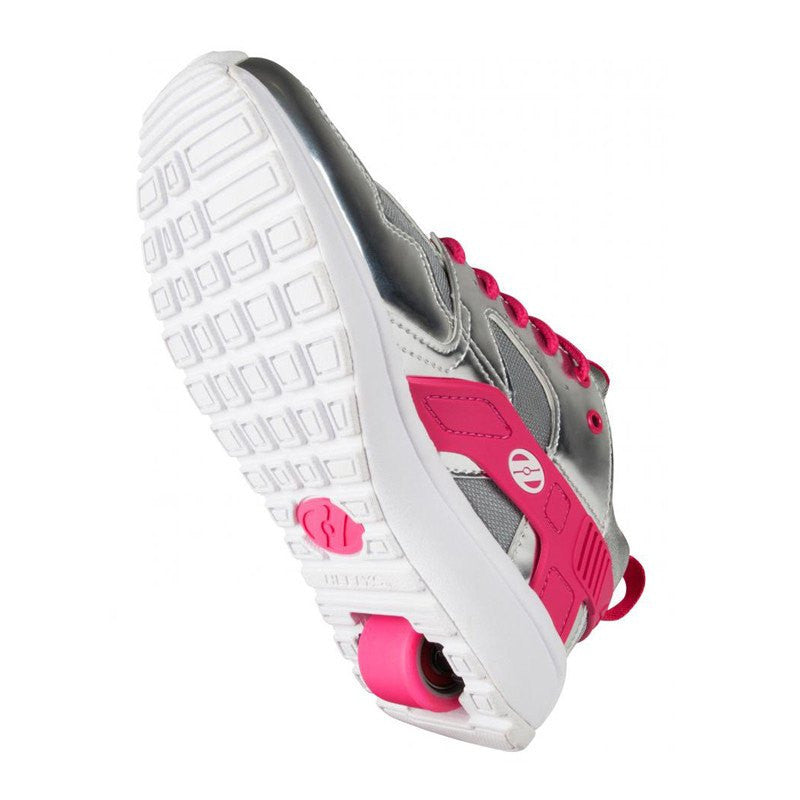 Silver Pink Girls One Wheel Heelys - Underside View