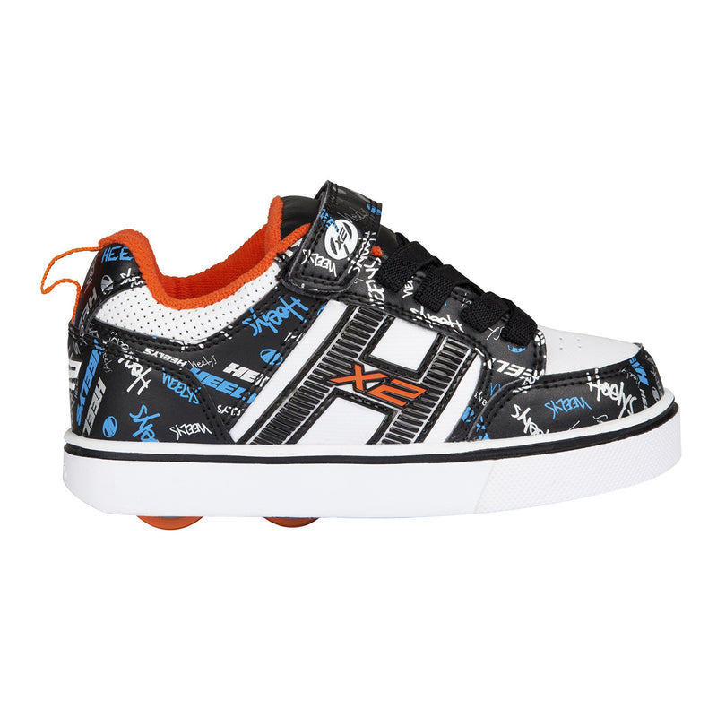 Heelys X2 Bolt Plus Black/White/Orange/Cyan - side view