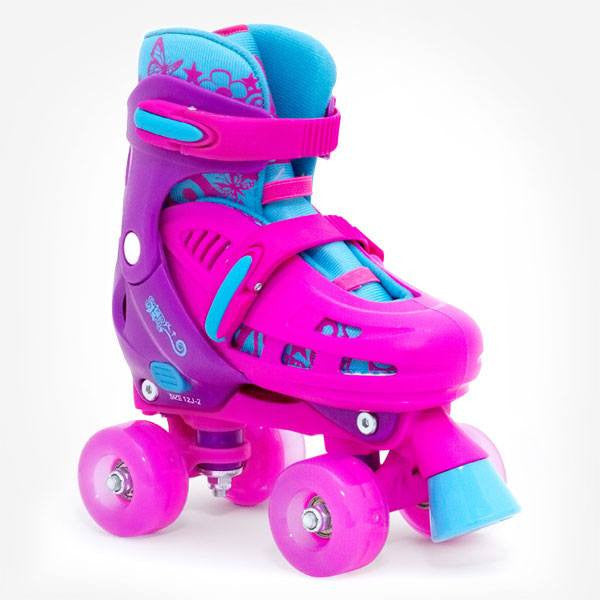 SFR Lightning Hurricane Pink Purple Girls Flashing Adjustable Quad Roller Skates - Main View