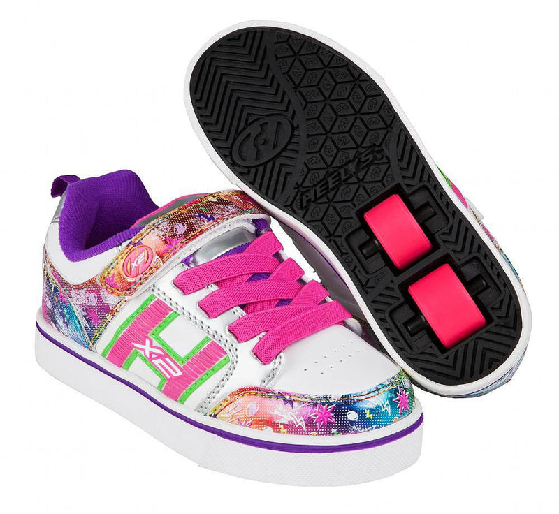 Heelys Bolt white/silver/rainbow roller shoes with two wheels in each heel