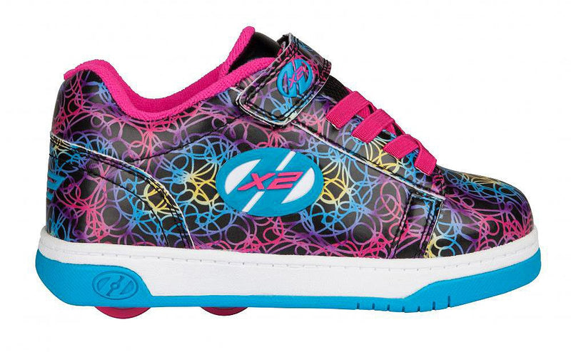 Heelys Dual Up Black/Cyan/Neon/Multi roller shoes - side view